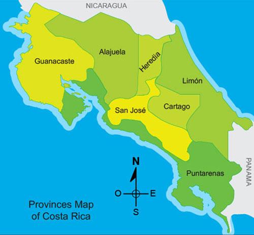 San José Costa Rica - Costa rica regions map